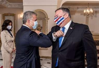 Duque recibe a Pompeo en el Palacio de Nariño. Foto AFP