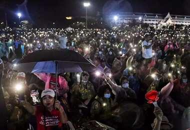 Multitudinaria protesta. Foto AFP