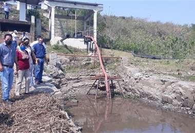 Bajo nivel del agua del canal Tamengo