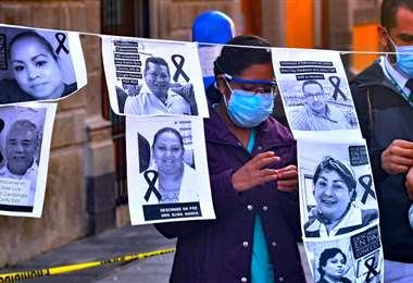 Protesta de trabajadores de salud en México. Foto Internet
