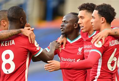 Sadio Mané celebrando uno de sus goles. Foto: AFP