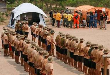 Los brigadistas y FFAA tienen un campamento en la zona. Foto: Ipa Ibañez