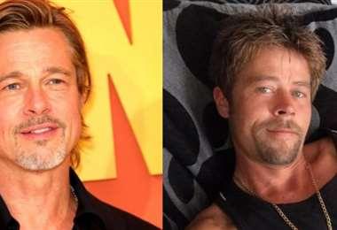 El obrero inglés Nathan Meads (derecha) causa sensación por su parecido con Brad Pitt