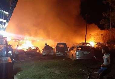 Las oficinas de Tránsito fueron incendiadas (Foto: RRSS)
