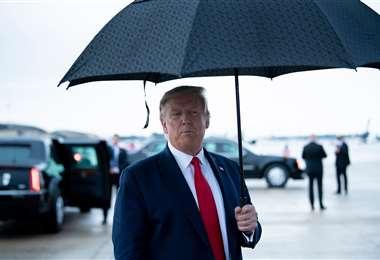 Trump al llegar a la Base Aérea Andrews en Maryland. Foto AFP