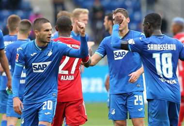El festejo de los jugadores del Hoffenheim, que este domingo venció al Bayern. Foto: AFP