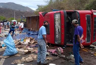 El camión accidentado interrumpió el tránsito fluido