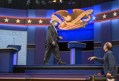 Todo listo para el debate en Cleveland. Foto AFP