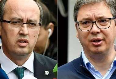 El primer ministro de Kosovo, Hoti, y el presidente de Serbia, Vuci. Foto AFP