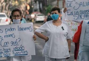 Personal de salud protesta en México. Foto Internet
