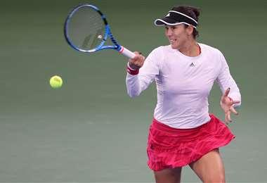 La tenista española Garbiñe Muguruza no tuvo este jueves una buena jornada. Foto: AFP