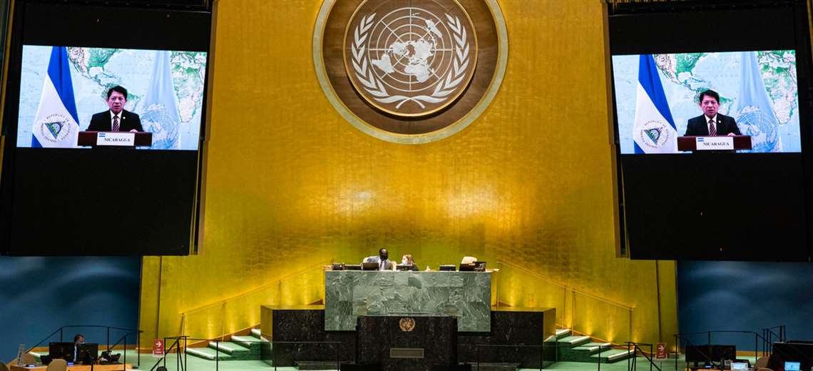 Denis Moncada durante su intervención en la ONU. Foto Internet