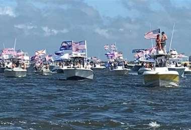 Flotilla de embarcaciones en apoyo a Trump. Foto Internet