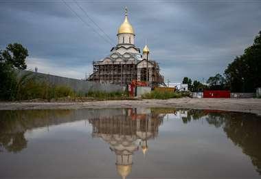 Una iglesia ortodoxa rusa en construcción. Foto AFP