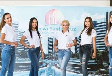 Algunas de las participantes del concurso departamental en su visita a la Nueva Santa Cruz