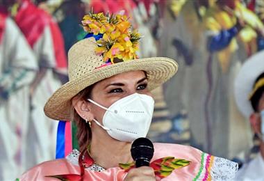La presidenta Jeanine Añez estuvo este domingo en San Ignacio de Moxos