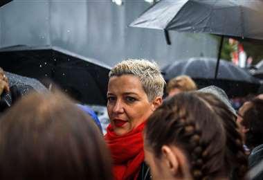 Maria Kolesnikova en la manifestación del domingo. Foto AFP