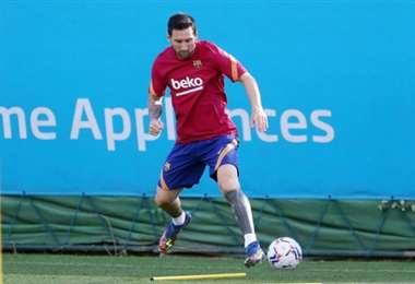 Primer entrenamiento de Messi en su retorno al Barcelona. Foto: Club Barcelona