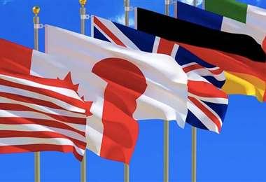 Banderas de los países del G7. Foto Internet