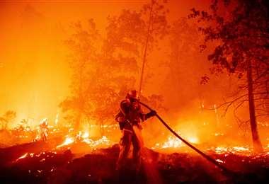 Denodada lucha contra los incendios. Foto AFP