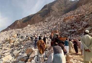 Accidente en una mina de mármol en Pakistán. Foto Internet