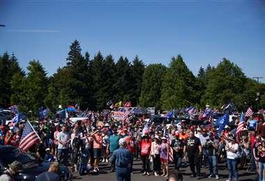 Partidarios de Trump en Oregon. Foto AFP