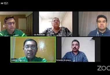 Cuatro miembros del comité ejecutivo de la FBF. Foto: Captura video