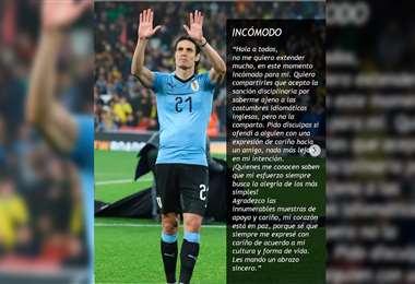 Cavani se disculpó en su cuenta de Instagram. Foto: @cavaniofficial21
