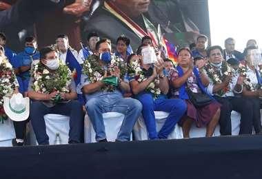 Morales faltó al acto, en el que si participó el presidente Arce