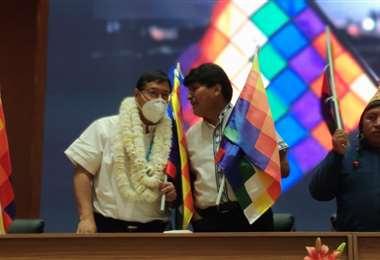 El expresidente Morales no suele usar barbijo /Foto: Archivo ABI