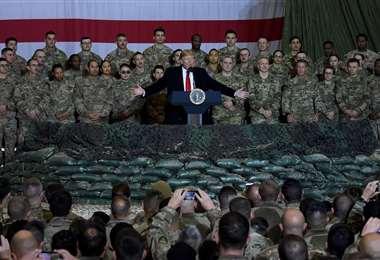 En 2019, Donald Trump visitó a militares de EEUU en Afganistán/Foto: AFP