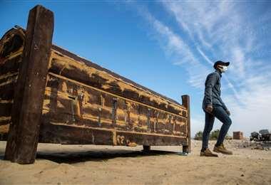 Un sarcófago de madera hallado en Egipto/Foto: AFP