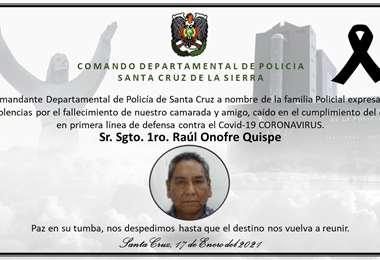 Condolencia del policía Raúl Onofre