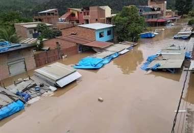 Inundación en Tipuani | Foto: Bolivia TV