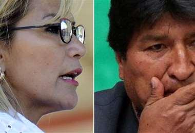 Jeanine Áñez y Evo Morales.