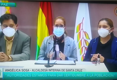 Conferencia de prensa de Angélica Sosa y el ministro de Salud, Jeyson Auza.