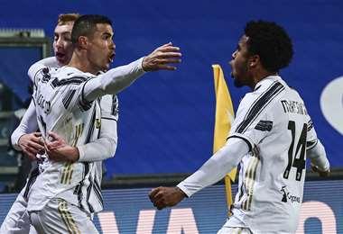 Cristiano celebrando el primer gol. Foto: AFP