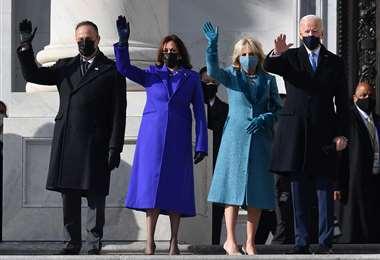 Doug Emhoff, Kamala Harris, Jill Biden y Joe Biden llegan al capitolio/Foto: AFP