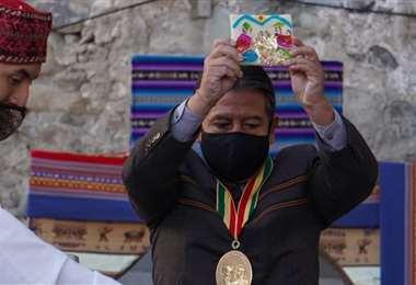 El Vicepresidente en la K'oa que se realizó en Palacio (Foto: APG Noticias)