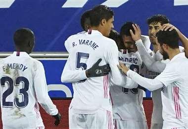 Casemiro celebrando el primer gol. Foto: AFP