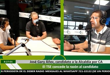 Áñez dialogó con los periodistas, Pedro Rivero y Leopoldo Vega en EL DEBER Radio