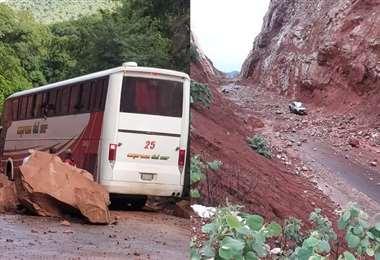 Lluvias provocan derrumbes en tramos de la carretera al Chaco tarijeño. Foto: David Maygua
