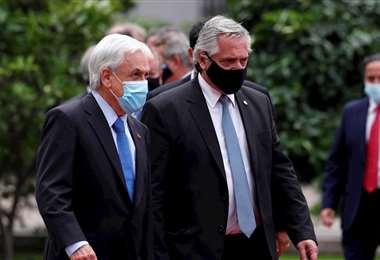 Alberto Fernández y Sebastián Piñera durante su encuentro en Chile