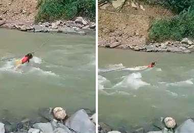 La niña, en el río