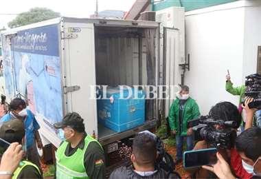 Las vacunas que llegaron a Santa Cruz están en custodio del Sedes. Foto: Juan C. Torrejón