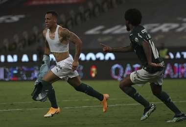 El festejo de Breno Lopez, autor del gol del Palmeiras. Foto: AFP