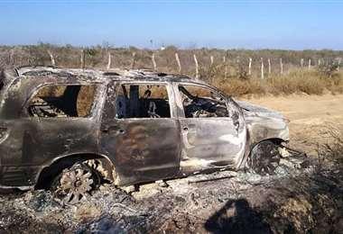 Vehículo incinerado donde hallaron 19 cuerpos en Tamaulipas