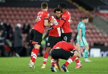 El festejo de los jugadores del Southampton, que ganaron este lunes. Foto: AFP