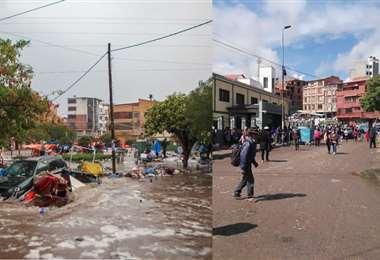 El Mercado Campesino arrasado por las aguas ayer.  Hoy luce en calma