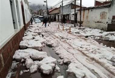 Lluvia y granizada en Sucre/Foto: Correo del Sur